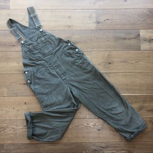 Light Olive Green Baggy Corduroy Overalls